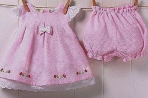 Infant Baby Girl 2-piece Pin-Striped Outfit - Dress & Panty ~ 9mo+
