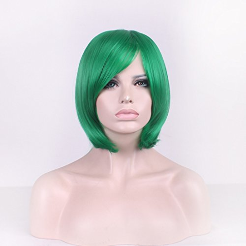 [MOCOO High Quality Short Straight Hair Bob Wigs Fashion Ladies Cosplay /Party Costume] (Short Green Wig)