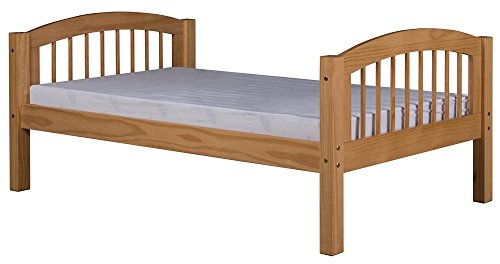 Camaflexi Platform Bed with Arch Spindle Headboard in Natural Finish ()