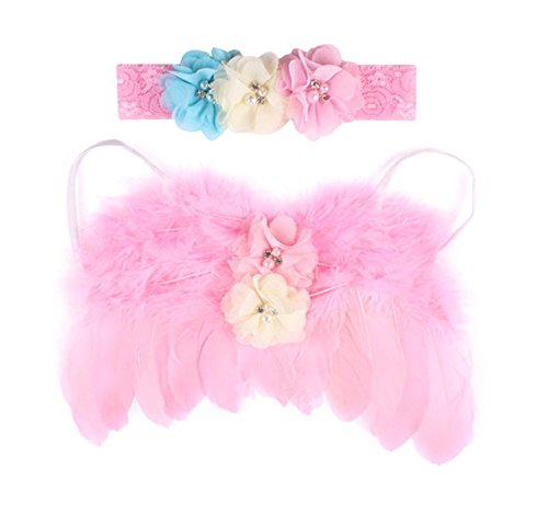 Rush Dance Newborn Photography Fairy Angel Tinkerbell Princess Wings & Headband (Pink with Ivory and Turquoise)]()