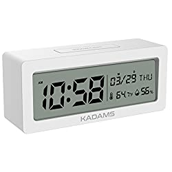 KADAMS Battery Digital Alarm Clock with Snooze, Backlight, Calendar Month Date Day, Temperature and Humidity, Low Battery Indicator, Small Portable Travel Clock, Desk Clock for Shelf Table - White