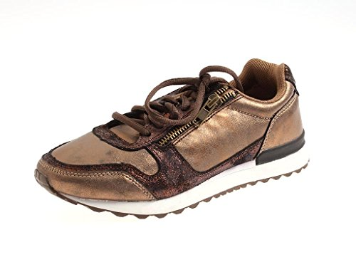 Baskets Lacets Rushour Bronze Tendance Chaussures À Brillant 7X5XqwpRfn