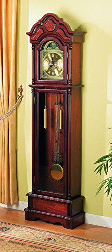 Coaster Home Furnishings 900749 Traditional Grandfather Clock, Cherry by Coaster Home Furnishings