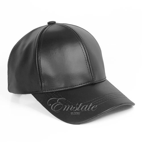 Emstate Cowhide Leather Unisex Adjustable Baseball Cap Made in USA (Black) 476ca941e12d