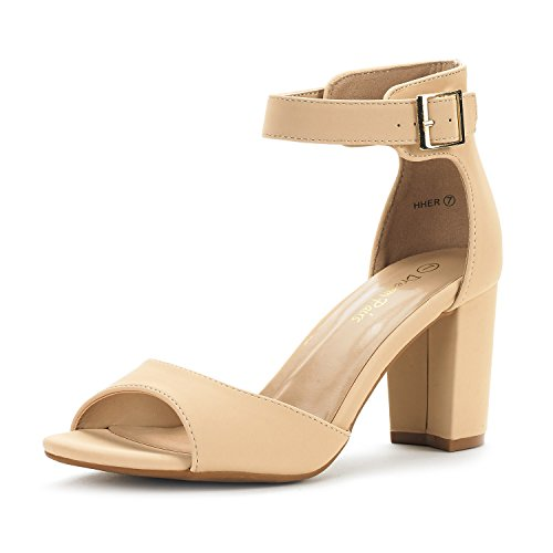 Strap Evening Wedding Toe Women's PAIRS NUDE NUBUCK Stiletto Open Heel DREAM HHER Chunky Sandals Dress Low Ankle Pumps qRBPt