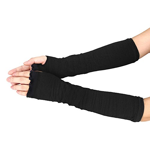 Warm Gloves | 15.75 Inch Black Cotton Women Stretchy Long Sleeve Fingerless Gloves
