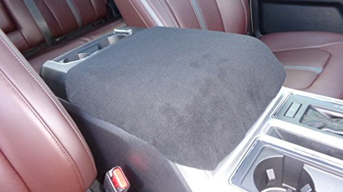 Car Console Covers Plus Fits 2011-2018 Ford F150 F250 F350 Fleece Center Armrest Cover for Center Console Lid, Your Console Should Match Photo Shown Made in USA Black