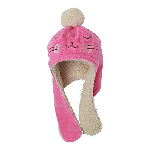 Zutano Baby Girls' Velour Bunny Hat - Hot Pink, 6 Months -