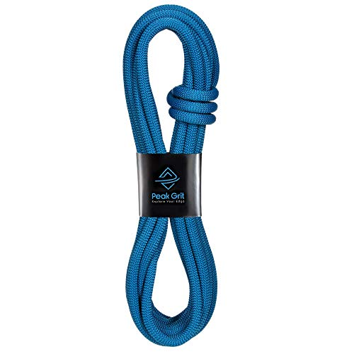 Peak Grit Static Rock Climbing Rope - 10.7mm UIAA Certified 30m (98.4 ft) - Blue Outdoor Rappelling Cord - Ropes Designed for Heavy Duty Mountain, Tree, Fire, Survival, and Rescue Safety Sport Gear ()