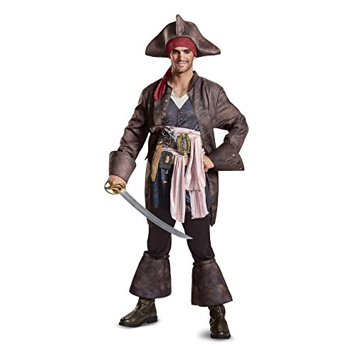 Disney Men's Plus Size POTC5 Captain Jack Sparrow Deluxe Adult Costume, Brown, Medium