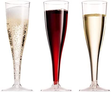 100 Pack Plastic Champagne Flutes 5 Oz Clear Plastic Toasting Glasses Disposable Wedding Thanksgiving Party Cocktail Cups 4