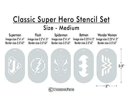 Stencils - Classic Super Hero Set of 5 -