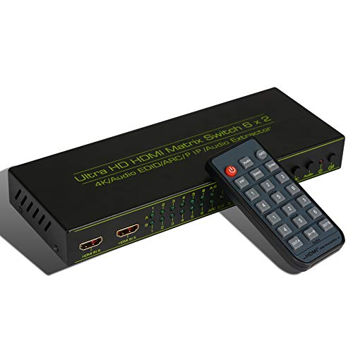 Matrix A/v Switcher (6x2 HDMI Matrix Switch,HDCP 1.2/1.4, AOKEN 6 in 2 Out HDMI Switcher/Splitter with Optical & L/R Audio Output -Support 4K,3D 1080p,ARC,PIP - Includes 21keys IR Remote Control & Power Adapter.)