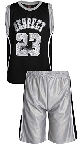 - Mad Game Boys' 2-Piece Basketball Athletic Tank Top and Shorts Set, Black/Grey Respect, Size 12/14'
