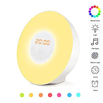 Wake-Up Light Alarm Clock, Accmor Morning Sunrise Simulation Clock with Nature Sound & FM Radio, Touch LED Lamp with 7 Alarm Sound, Nature Night Light, 3 Brightness Bedside Lamp (Plug-in)