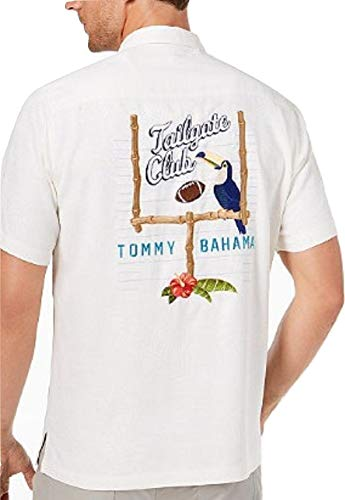 Tommy Bahama Embroidered Tailgate Club Silk Camp Shirt (Color: Continental, Size L)