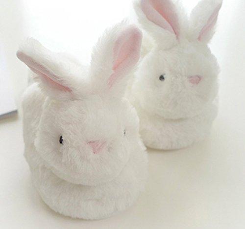 Pantoufles De Lapin Chaud Blanc De Femmes Pantoufles Mignons Intérieurs Blancs