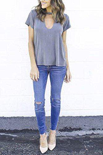 Casuales de manga corta con cuello en v camiseta camisas las Grey