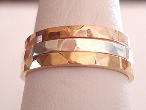 14 K. Solid Gold 2 mm. Wide(width) Hammered Band or Stacking Ring (14k Gold Wide Band Ring)