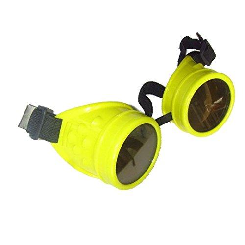(Ikevan Punk Glasses Cosplay, Color Vintage Style Steampunk Goggles Punk Glasses Cosplay, 8 Colors (Yellow))