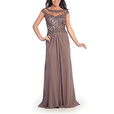 Abaowedding Women's Long Chiffon Evening Dress with Lace Party Dresses