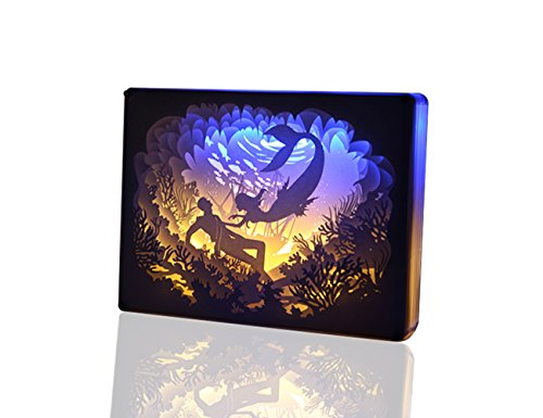 Mermaid Light (TEAM WORK Papercut Light Boxes ( Mermaid ), Creative Bedside Lamp of Remote Control, Soothing Light for Contemporary Living Spaces, 3D Shadow Box USB LED Light)
