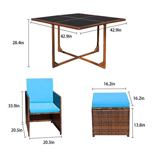 Garden and Outdoor Devoko 9 Pieces Patio Dining Sets Outdoor Space Saving Rattan Chairs with Glass Table Patio Furniture Sets Cushioned… patio dining sets