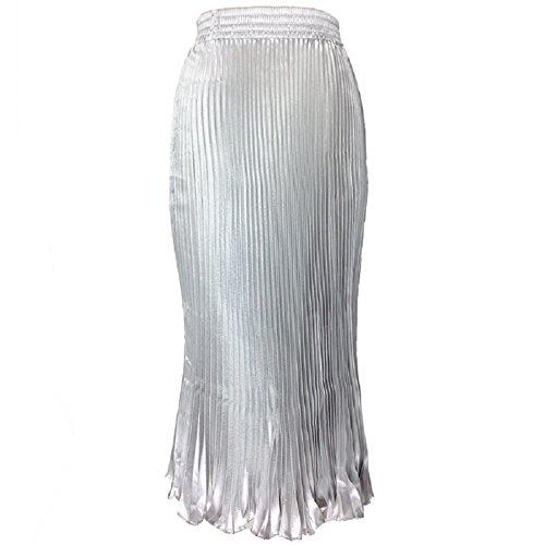 Jupe Oudan pour Argent lgante Longue A Ligne Taille Haute Plisse Jupe Femmes mi Swing Longue Jupe wIIqgAF