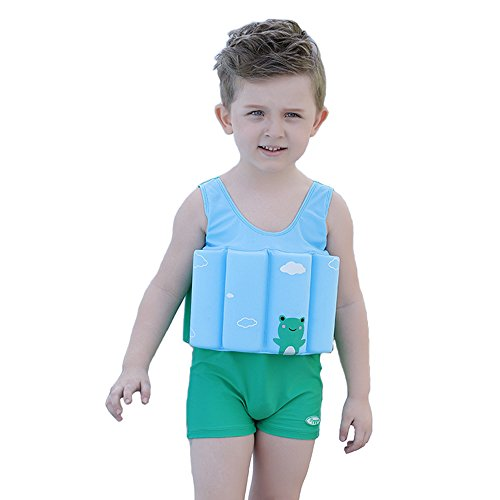 Kids Life Jacket Baby Floatation Suit Detachable Float Adjustable One-Piece Swimsuit Buoyancy for Girls Boys Age 1-10 Year Toddler Swim Trainer,Green Frog(Include The Baby Bag)