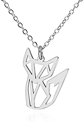 AOCHEE Fox Necklace Rose Gold Fox Origami Necklace Fox Pendant Necklace for Women Girls Animal Jewelry