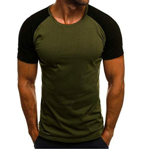 Franhais Mens Casual 100% Cotton 3/4 Sleeve Baseball Tshirt Raglan Jersey Shirt,Size M-2XL (M, 1-Army ()