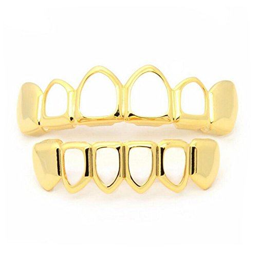Gold Plated Teeth Grillz Set Hip Hop bling bling Teeth Music Party Masquerade Or Everyday Wear (Gold, Hollow)
