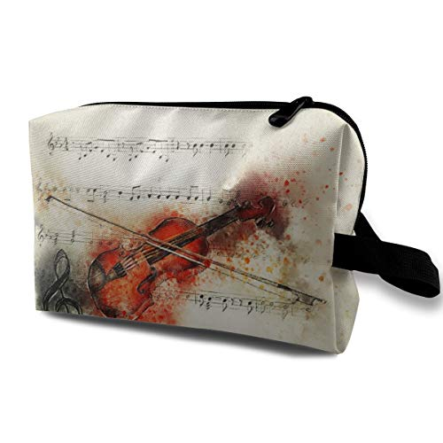 """Bafrsc Violin Music Note Art Customized Suitable for Families, Travel 4.9"""" × 6.3"""" × 10.0"""" Cosmetic Bag"""
