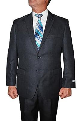 Calvin Klein Men's Solid Charcoal Two Button Side Vent Slim Fit Suit (42Sx36W)
