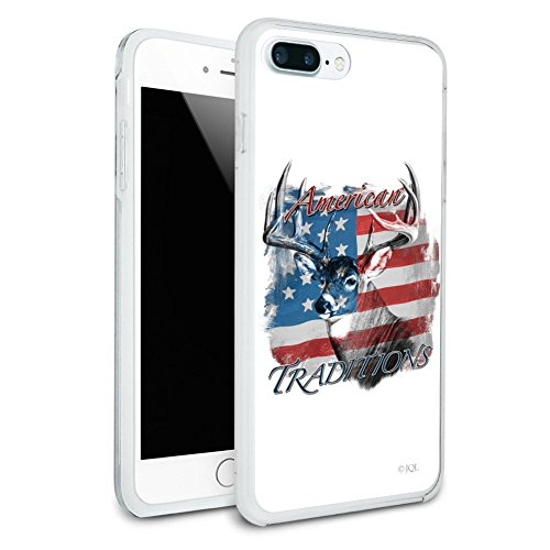 Deer USA Flag American Traditions Hunting Protective Slim Fit Hybrid Rubber Bumper Case Fits Apple iPhone 8 Plus ()