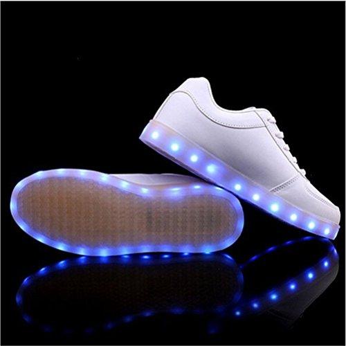 [Present:small towel]JUNGLEST® Club Unisex Women Men USB Charging 8 Colors LED Sport Shoes Flashing Fash White XfIh37Fmh