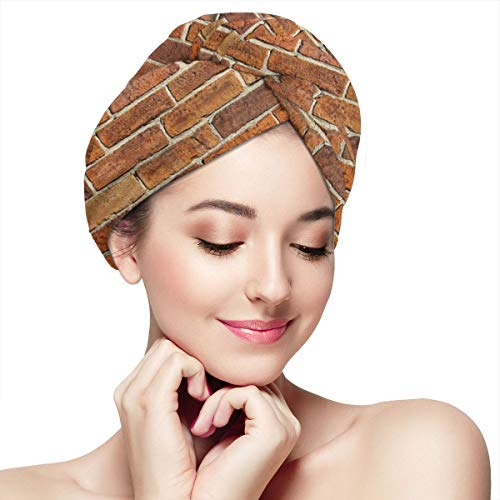(Women's Hair Drying Towel Wrap With Button Weathered Stained Old Brick Wall Soft Absorbent Microfiber Bath Head Wrap Twist For Long & Curly Hair)