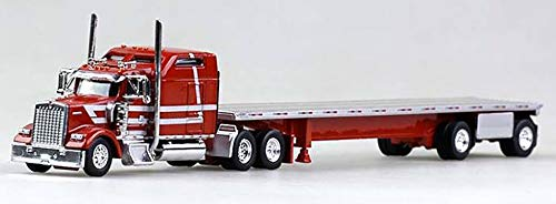 Kenworth W-900 (Viper Red), Spread Axle 48' Flatbed Trailer (Red) Scale 1:87 (HO Scale) Model