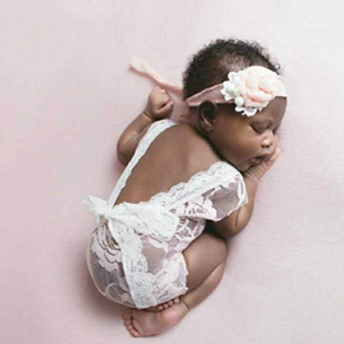 Himom Newborn Baby Girl Cute Deep-Vee Back Photography Props Vest Onesie Outfit with Lace Ribbon (White)
