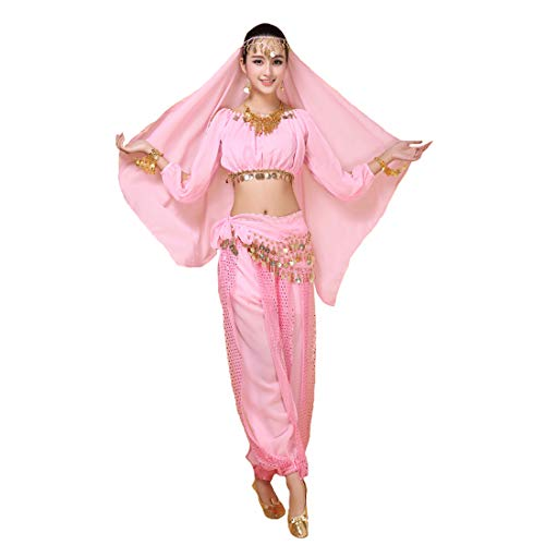Maylong Women's Long Sleeve Belly Dancing Outfit Halloween Costume DW17 (Pink) -