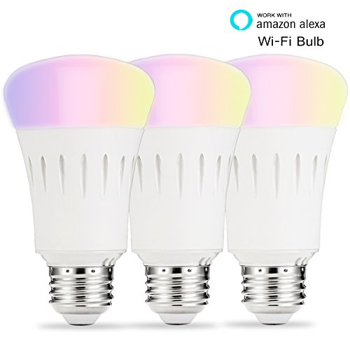 LOHAS Smart LED Bulb, Wi-Fi Light, Multicolored LED Bulbs, A19 LED Dimmable 60W Equivalent(9W), Smartphone Controlled Daylight & Night Light, Home Lighting Works with Amazon Alexa(3 Pack)