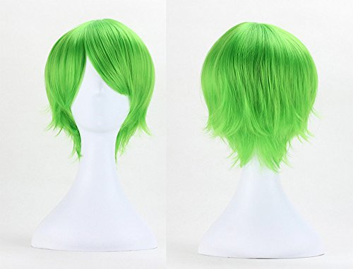 [Anogol® Sexy Anime Lolita Short Green Wig Vocaloid Kaito Cosplay Wig Layered Straight Party Wigs] (Short Green Wig)