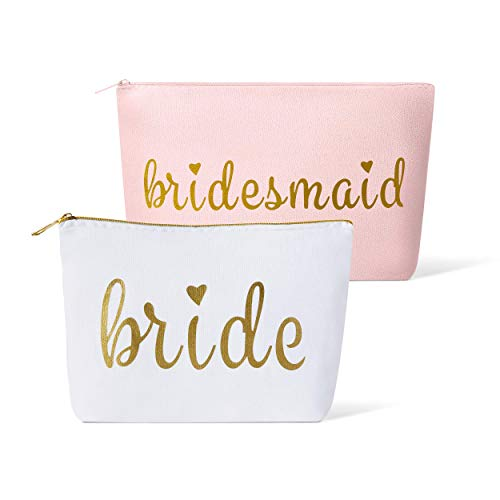 11 Piece Set of Pink Bridesmaid and Bride Canvas Makeup Bags for Bachelorette Parties, Weddings and Bridal Showers! (Bridesmaid, Pink)