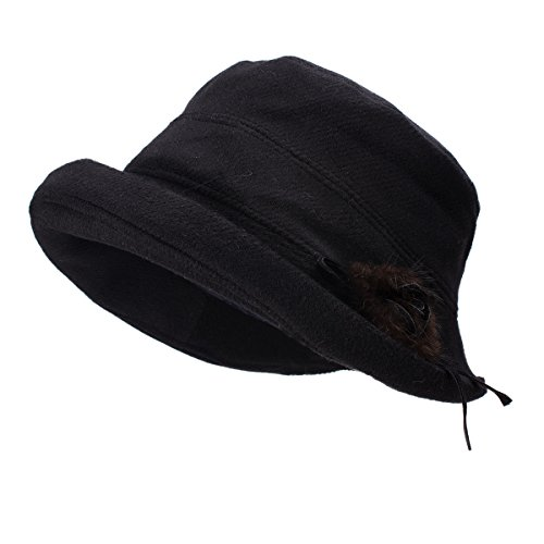 Lawliet Womens 1920s Twill Woolen Cloche Bucket Winter Hat Cap T298 (Black) (Womens Hats From The 1920s)