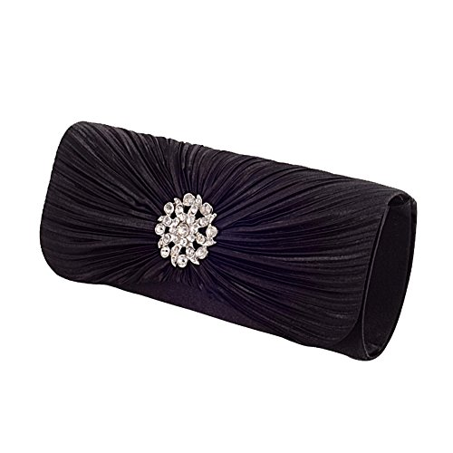 Black Satin Diamante Clutch Bag - 8