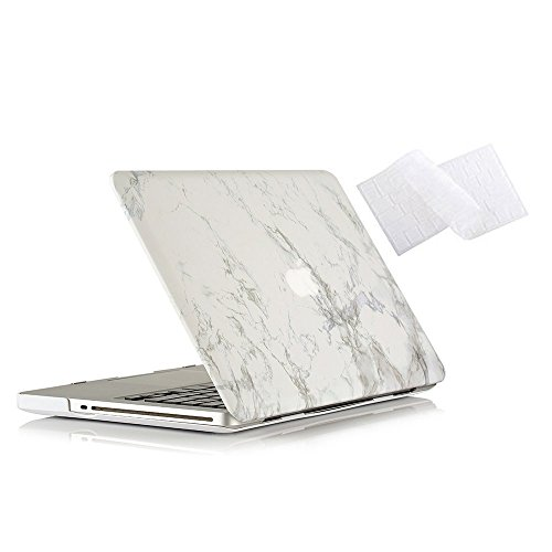 MacBook Pro 15 Case 2011/2010/2009 Release A1286, Ruban Hard Case Shell Cover and Keyboard Skin Cover for Apple MacBook Pro 15 Inch with CD-ROM - White Marble