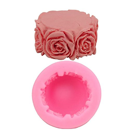 (Inteeon Pet Series 1 pc Round Rose silicone DIY Soap Cylindrical candle Making a cake 7.3x3.4 cm)