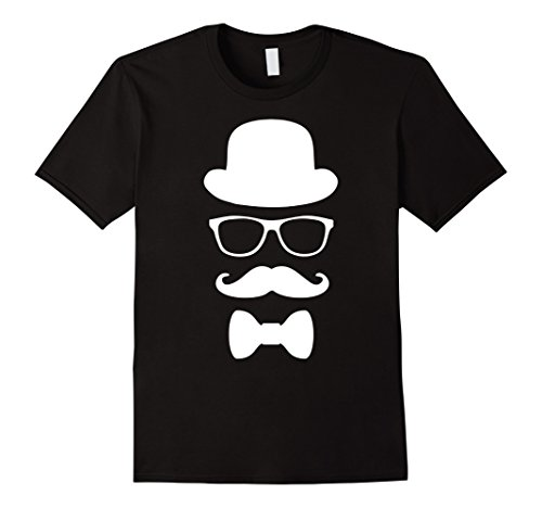 Mens Hipster Mustache T-Shirt Nerd Geek Bowtie Hat Glasses Tee 2XL - Glasses Geek With Bow