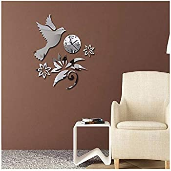 Alrens(TM)Peace Pigeon Flower 3D DIY Acrylic Mirror Wall Clock Horloge Modern Design
