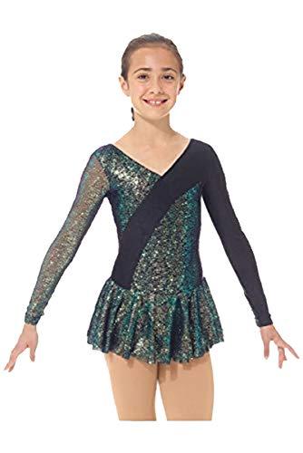 Mondor 667 Black Sparkly Dress w/Shiny Mesh Inserts & Sleeve (Black, 8-10)